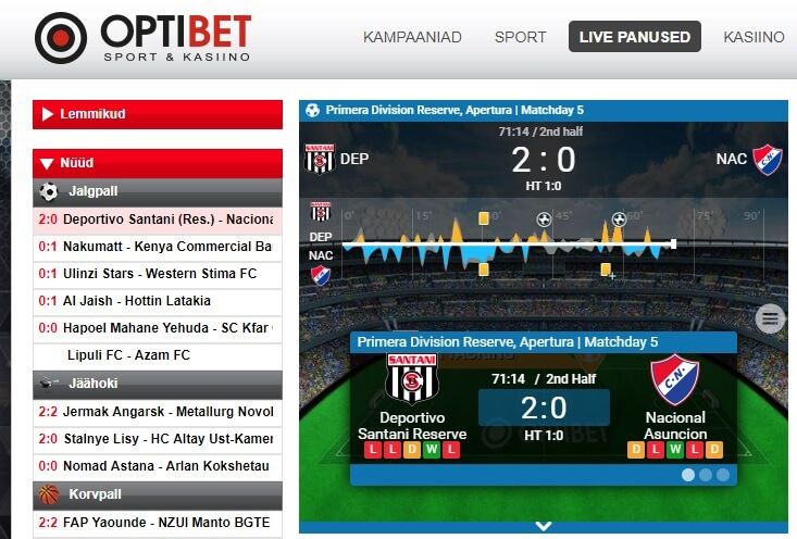 optibet live panused