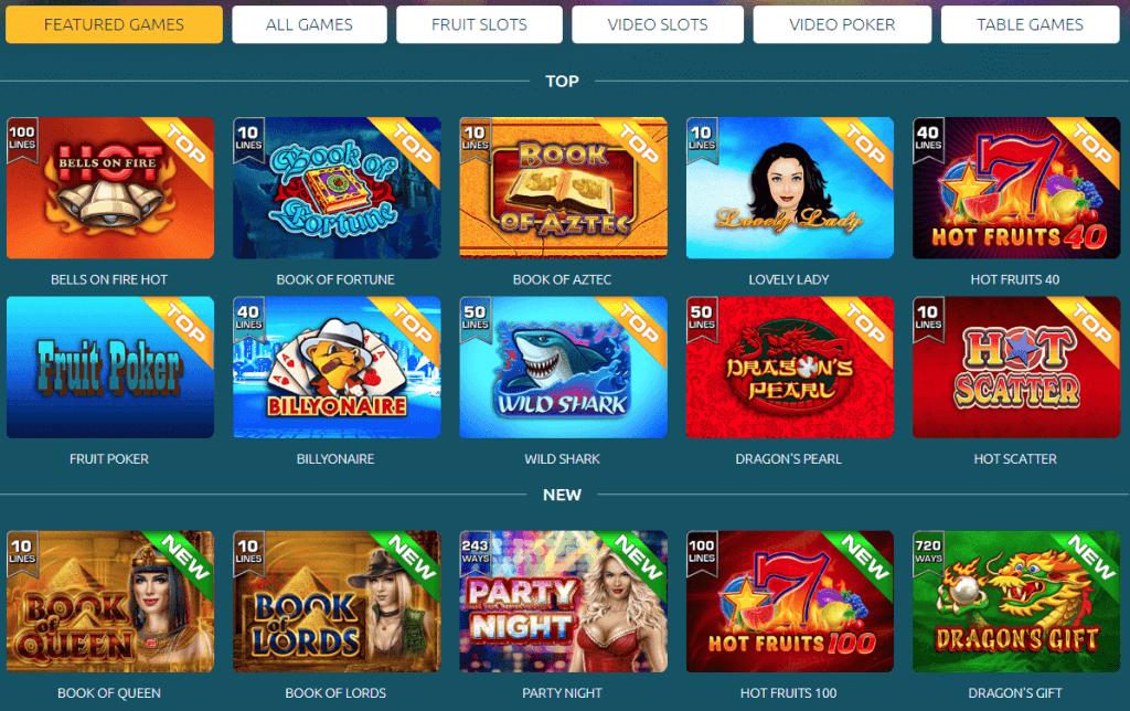 Mänguvalik GrandX kasiino